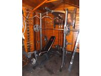 Marcy smith machine with pulley, cable crossover, olympic weights, bench