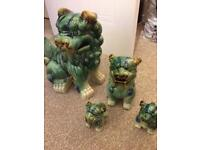 4 collectible Chinese lions in Jade Green