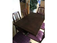 Hardwood Dining room table & 6 chairs