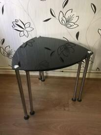 Glass black side tables