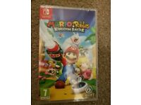 **SEALED** NINTENDO SWITCH AND MARIO + RABBIDS KINGDOM BATTLE GAME BRAND NEW AND HAS 1 YEAR WARRANTY