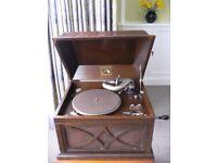 Antique Oak Gramophone His Masters Voice