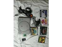 Sony ps1 1 controller 2 memory cards and 5 games