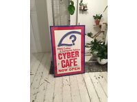 Reclaimed/Vintage cyber cafe poster