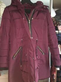 Women's burgundy coat with fur hood size 8