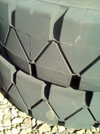 2 x Solid Tyres 14.00 x 24 With 12 Stud Rims