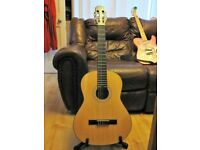 FULL SIZE CLASSICAL GUITAR WITH SOFT GIG BAG AND THREE SETS OF D'ADDARIO STRINGS