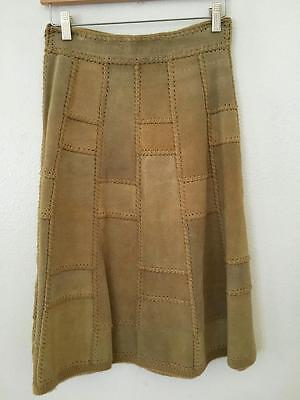 True Vintage Tan Suede Leather Patchwork A-Line Skirt Hippie Boho 70's 9