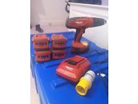 Hilti drill driver, 5 batteries, 110 charger