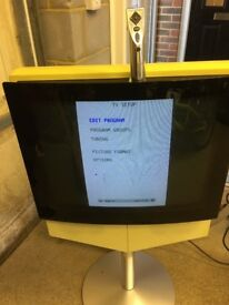 (2) Two Bang Olufsen Televisions, With Remote controls and Stands, Beovision Beocenter DVD Tv