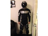 Agv sport 2 piece motorcycle race suit leathers with back hump and knee sliders