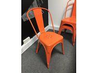 4 x Orange Tolix / Industrial Metal Chairs