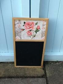 CUTE PRETTY SHABBY CHIC FLORAL WOODEN EDGE CHALK BOARD