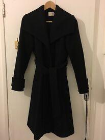 Reiss Black Coat size S UK 8 (80% wool), winter coat