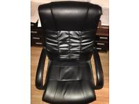 Black leather chair desk office study like new