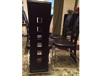 6 Black and Chrome Faux Leather dining chairs