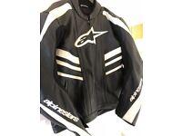 Alpinestars Black leather jacket Size Euro 58, approx XXL