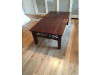 Beautiful rectangular dark wood coffee table with metal detailing