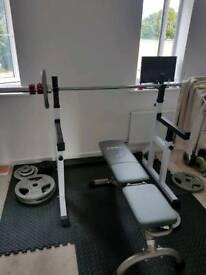 Bench, rack and weights