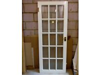 6 White Painted Internal Doors (4 have obscure beveled glass & 2 are molded paneled)