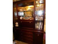 Dark wood display unit with glass shelving, drinks cabinet, spotlights and enclosed cupboard storage