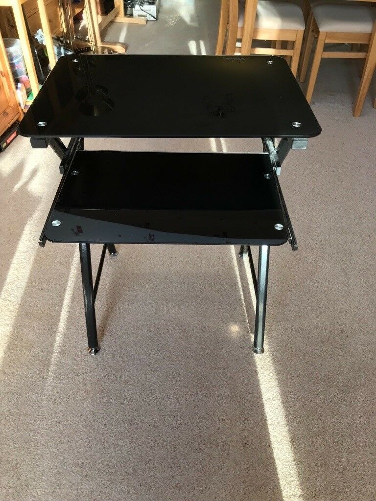 Black Glass And Chrome Metal Computer Desk In Maidenhead