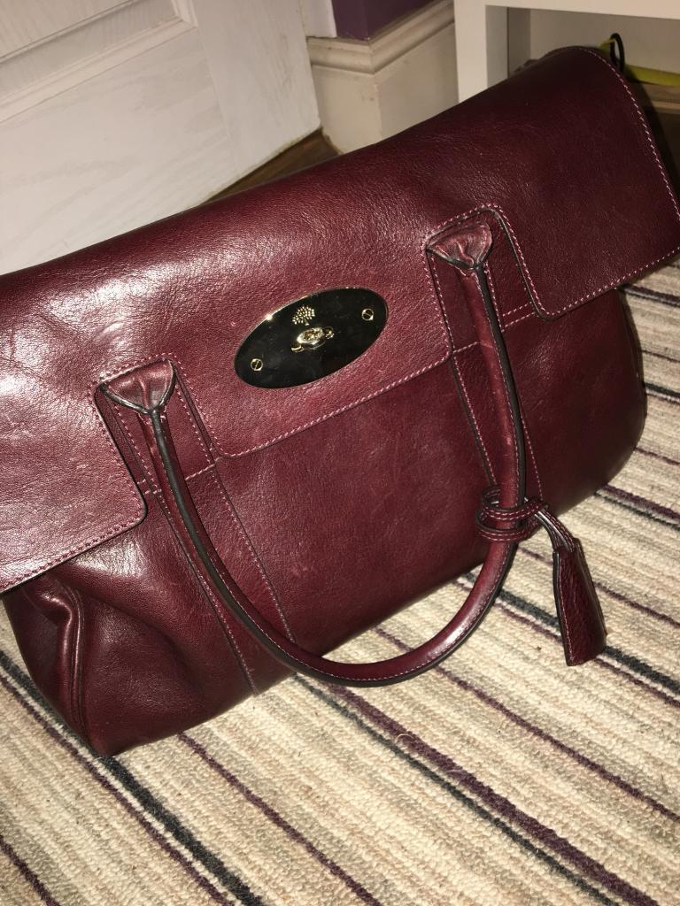 7021b3819bd9 Mulberry Bayswater Oxblood Leather Handbag