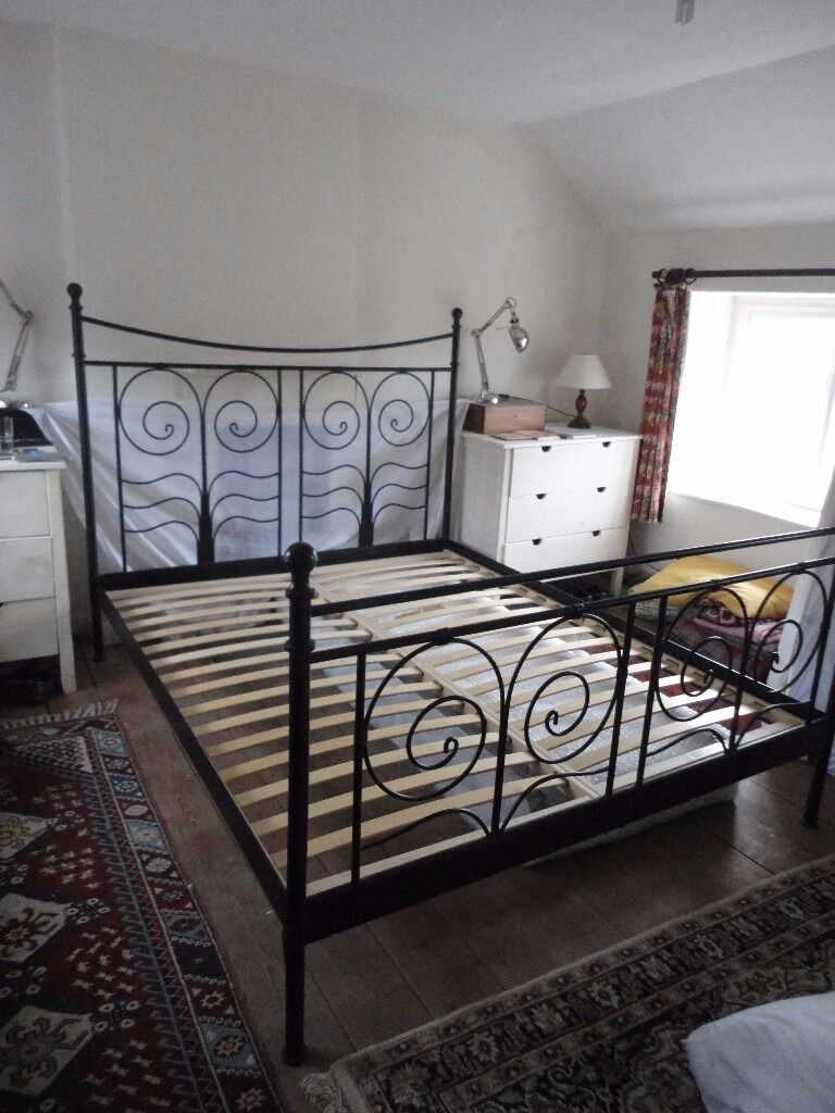 Ikea Noresund Black Metal Bed Frame For 160cm X 200cm Mattress In