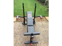 Weight bench and steel weights/dumbells