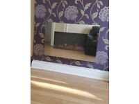 Electric mirror fireplace wall mounted with remote