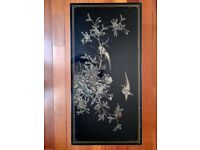 Vintage Japanese/Oriental hand painted black lacquer coffee table