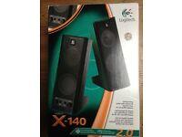LOGITECH X - 140 pair of speakers in original box, new, unused with orginial security seal on