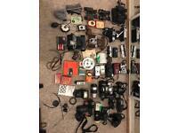 Job lot film cameras, accessories and binoculars