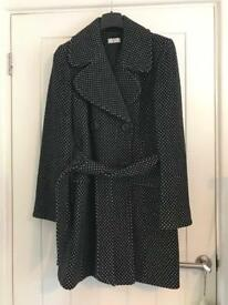 Ladies wool belted black coat size 12
