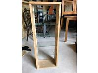 Pine cabinet with class shelves