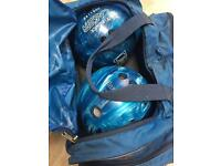 Pair of bowling balls with carrier case