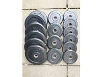 M&F quality gym bumper weight plates.