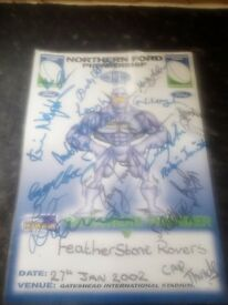 Rugby poster signed by all the gateshead thunder team.