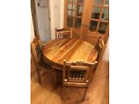 Solid oak table, 4 chairs, sideboard and coffee table