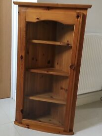 Beautiful pine wall corner cabinet with glass fronted door and four display shelves.