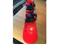 Nidecker 145cm dragon print snowboard with bindings and stomp pad, Swiss made