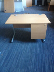 Straight Beech Desk & Intergrated Draw Pack 1200MM