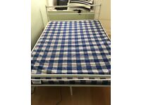 New double bed white frame & sprung mattress