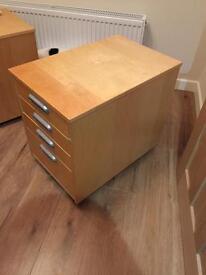 Ikea Birch desk draws and pc tower storage