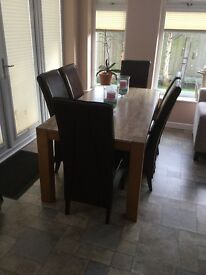 Marble Top Dining Room Table with Six Leather Chairs £500 ono