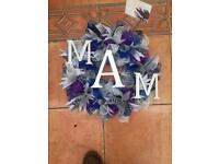 Mam funeral wreath silver lilacs and purples