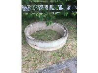 Concrete flower pot garden feature oil tank base