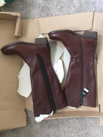 NEW in box, NEXT brown leather knee high boots sz 6