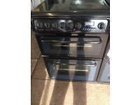 Black Hotpoint 60cm ceramic hub electric cooker grill & double fan oven good condition with gua