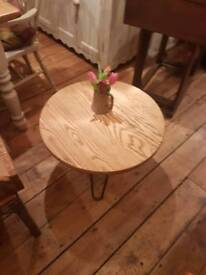 Pine round coffee table